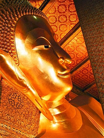 The head of a golden Buddha.